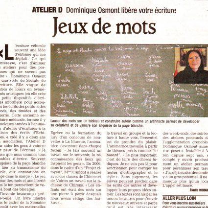 Article du «Dauphiné» : Jeux de mots