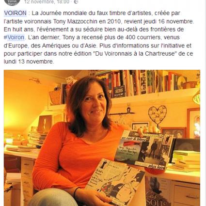 Publication du «Dauphiné» : Journée mondiale du faux timbre
