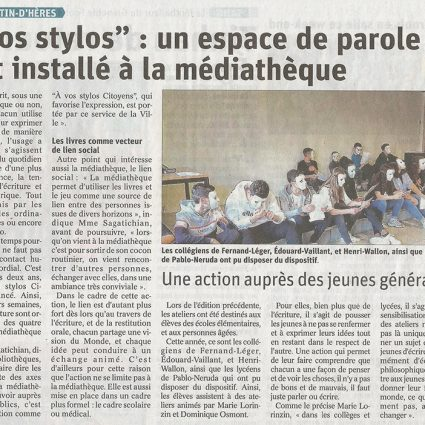 Article du Dauphiné «À vos stylos»